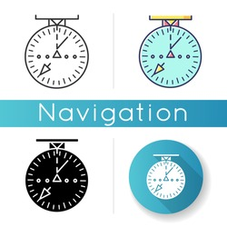 Aeronautical navigational radar icon. Modern navigation technology for aircrafts.. Linear black and RGB color styles. Radio frequency scanner with indicators isolated vector illustrations