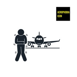 Aerophobia or fear of flying icon - stock illustration. This pictogram representing flying phobia.