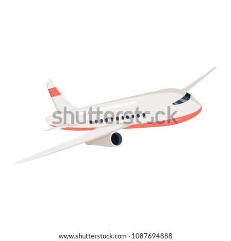 Aeroplane icon vector illustration. Airplane flight travel symbol. Flat plane view of a flying aircraft stock vector. Air cargo delivery and transportation charter. Business logistic symbol for web.
