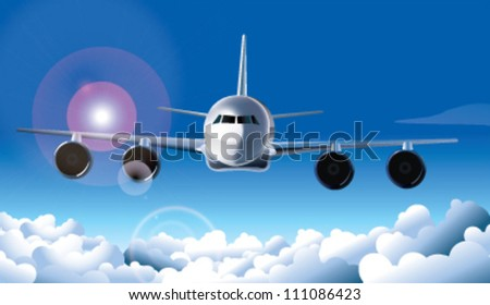 aeroplane on air in front view