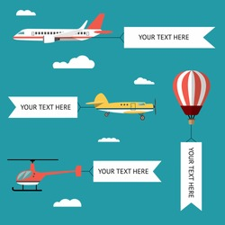 Aeroplane, planes, helicopters, biplane and hot air balloon. Set of colorful flat air transports with cloud. Vector illustration.