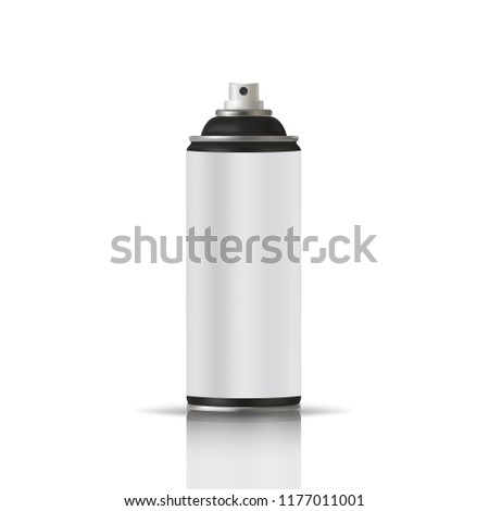 Aerosol can with empty label. Realistic vector illustration with reflection on white background EPS10