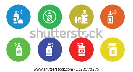 aerosol icon set. 8 filled aerosol icons.  Collection Of - Spray, Insecticide, Aerosol, Spray bottle, Spray paint