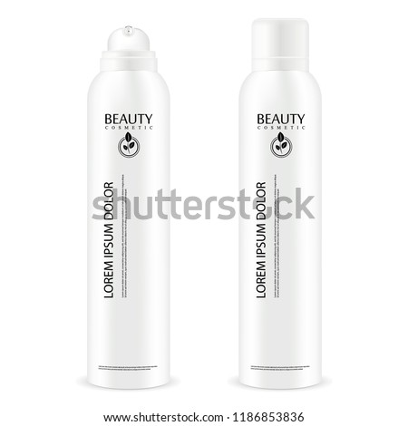 Aerosol spray metal bottle with lid. Deodorant antiperspirant or cosmetic hairspray can template. Vector package illustration isolated on white background.