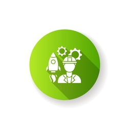 Aerospace engineer green flat design long shadow glyph icon. Male professional to work on spaceship. Technician for innovative technology development. Silhouette RGB color illustration