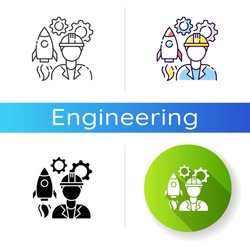 Aerospace engineer icon. Space rocket building specialist. Professional to work on spaceship. Technician for technology development. Linear black and RGB color styles. Isolated vector illustrations