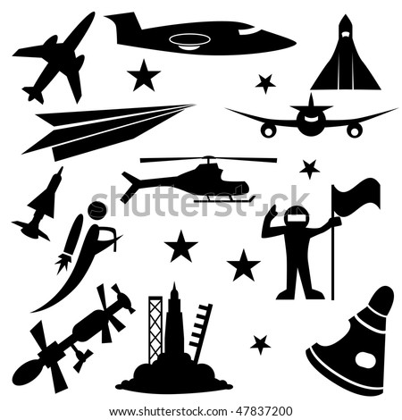 Aerospace icon set isolated on a white background.