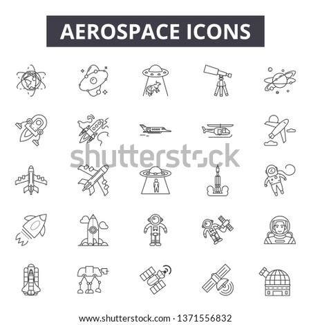 Aerospace line icons, signs set, vector. Aerospace outline concept, illustration: aerospace,technology,travel,transportation,airplane,space