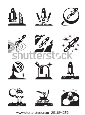 Aerospace mission set of icons - vector illustration