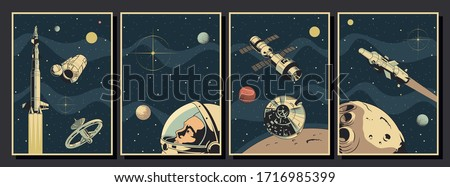 Aerospace, Spacecraft Poster Template Set, Space Ships, Rockets, Orbital Station, Astronaut, Planets, Asteroid, Stars Background