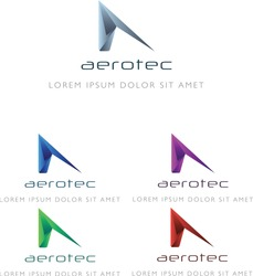 Aerotec Logo Concept. Perfect for aerospace and aeronautic businesses and startups. Can be used for websites, business cards, flyers, mood boards, and more.