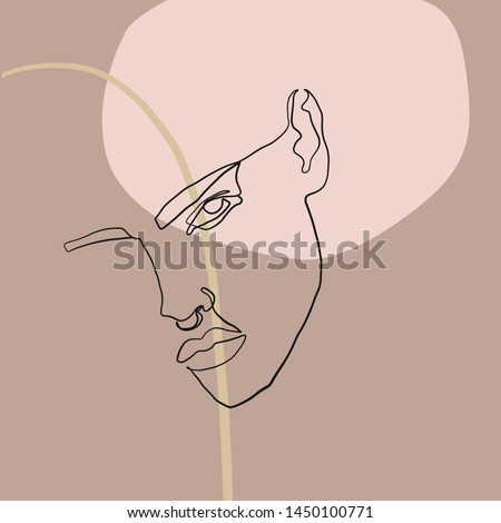 Aesthetic composition with woman drawing on c freehand background with brush shapes. Abstract creative portrait of a model girl in modern trendy graphic style. Contemporary unusual art.