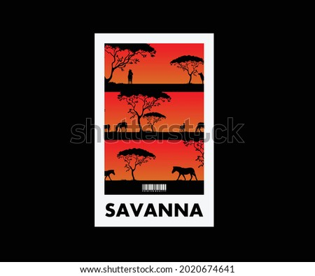 Aesthetic Graphic Design Savanna fot T shirt Stret Wear Stock fotó ©
