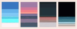 Aesthetic pixels sea and beach background from daytime to nighttime, light and cool pastel colour beach vibe set illustration, minimal design