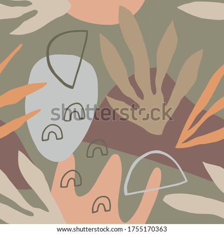 Aesthetic seamless pattern with abstract plants and shapes. Creative design for textile, wrapping paper, wallpaper, apparel. Vector background
