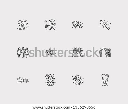 Affection icons set. Bow with arrow and affection icons with caring, butterflies and groom with bridal. Set of weapon for web app logo UI design.