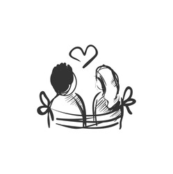 Affection line icon.Man and women sitting together on a bench. Outline drawing. Romantic expression of feelings concept. Amorous relationship. Valentine day. Isolated vector illustration