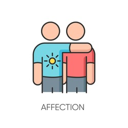 Affection RGB color icon. Emotional attachment, strong friendship. Positive feelings expression, friendly relationship. Friends together isolated vector illustration