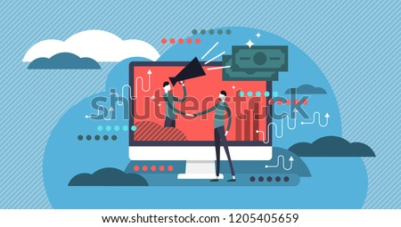 Affiliate marketing flat vector illustration. Business commercial and advertisement strategy type using SEO, pay per click and mail. Human handshake and cooperation.