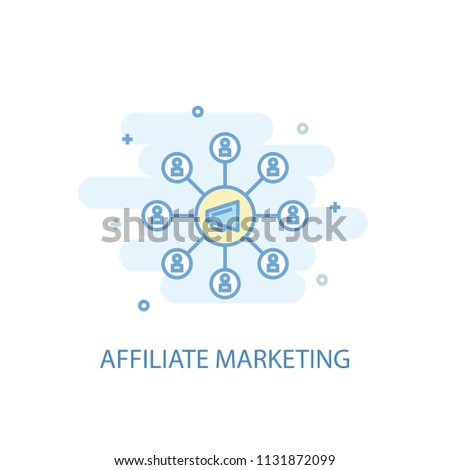 affiliate marketing line trendy icon. Simple line, colored illustration. affiliate marketing symbol flat design from Online business set. Can be used for UI/UX