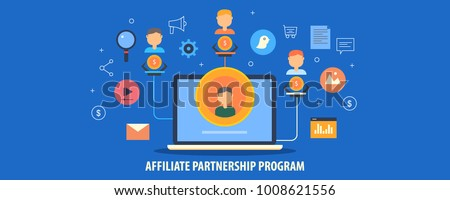 Affiliate partner, partnership program, Affiliate business, Network marketing flat design vector illustration