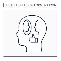 Affirmations line icon. Positive reminders or statements. Encourage and motivation for achieving goals. Self-development concept. Isolated vector illustration. Editable stroke