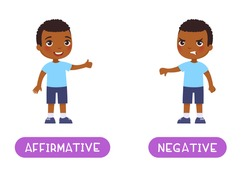 Affirmative and negative antonyms word card, Opposites concept. Flashcard for English language learning. Joyful African little boy shows thumbs up in agreement, a disgruntled dark skin child shows