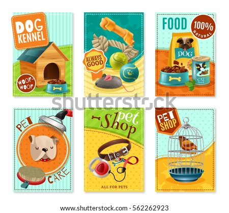 Affordable pet care store advertisement 6 mini banners collection with healthy food and accessories isolated vector illustration