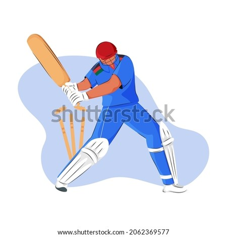 Afghanistan Cricket Batter Losing His Wicket On Blue And White Background.