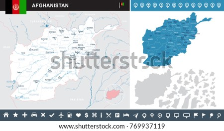 Afghanistan map and flag - High Detailed Vector Illustration