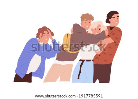 Afraid and frightened people expressing shock and fear, clinging together. Scared and horrified teen friends screaming in panic. Colored flat cartoon vector illustration isolated on white background Photo stock ©