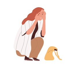 Afraid and frightened person crouched in fear and hide face with palms. Terrified woman with scared facial expression. Colored flat cartoon vector illustration isolated on white background.
