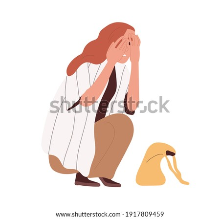 Afraid and frightened person crouched in fear and hide face with palms. Terrified woman with scared facial expression. Colored flat cartoon vector illustration isolated on white background. ストックフォト ©