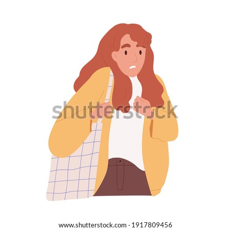 Afraid and scared person shaking and shrinking with fear. Frightened woman startled. Colored flat cartoon vector illustration of intimidated female character isolated on white background. Stockfoto ©