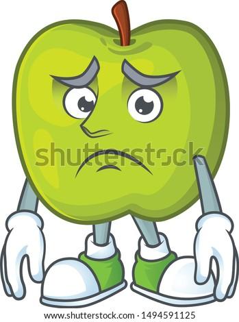 Afraid granny smith green apple cartoon mascot