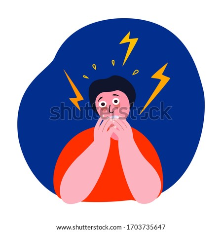 Afraid Nervous Trembling Man, Panic Attack. Worried Scared Person Can with Disturbance, Fever, Fear,Psychosis. Neurotic Alarm Frustrated, Phobia. Scared Psyco Stressed Shakes. Flat Vector Illustration Foto stock ©