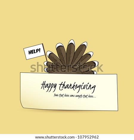 Afraid turkey hiding behind a paper holding a while flag