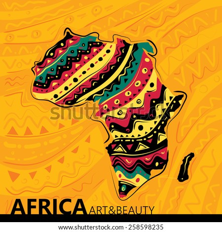 Africa Abstract Map, Texture Background (Vector Art)