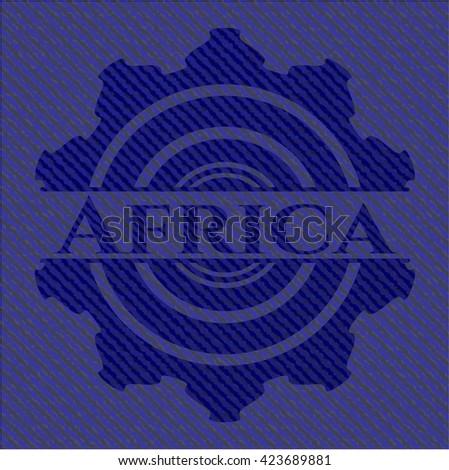 Africa badge with denim texture