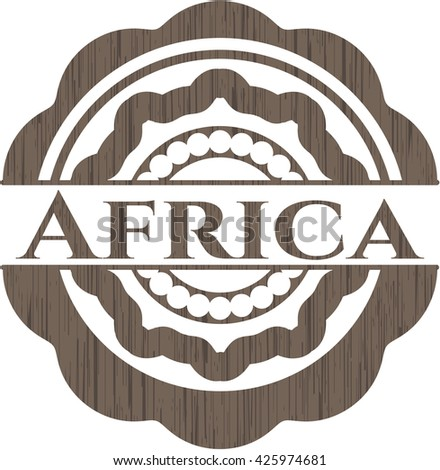 Africa badge with wooden background