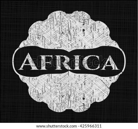 Africa chalk emblem, retro style, chalk or chalkboard texture