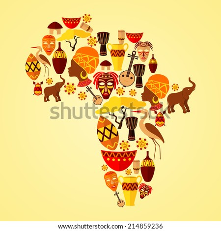 Africa continent jungle ethnic tribe travel concept vector illustration
