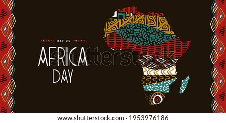 Africa Day greeting card illustration for 25 may celebration. African continent map with ethnic art and wild animal print textures. Photo stock ©