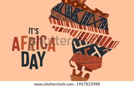 Africa Day greeting card illustration for 25 may people freedom celebration. Colorful african continent map made of traditional ethnic art decoration with holiday quote.