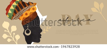 Africa Day web template illustration, african continent map made of beautiful black woman face with traditional tribal art head turban. May 25 holiday celebration design.