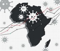 Africa economic crisis vector illustration. Pandemic chart. White Background.