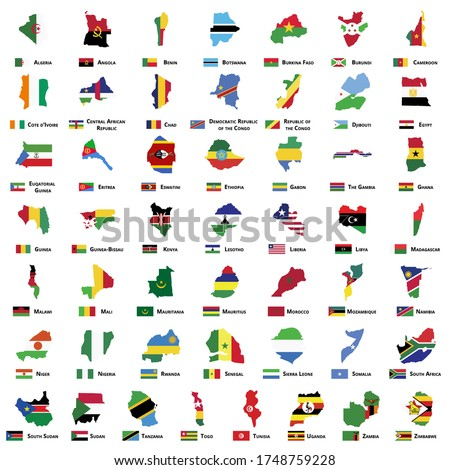 Africa Flag Map pack, African country illustration, vector isolated on white background