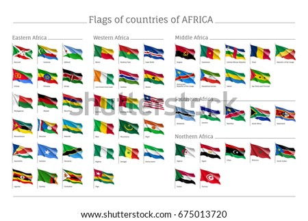 Africa Flags Big Set. Travel Agency Or Classroom Geography Poster,  Political Map Information.