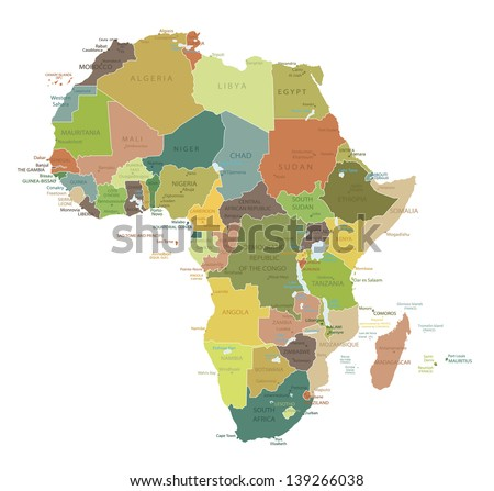 Africa Highly Detailed Map.All Elements Are Separated In Editable Layers  Clearly Labeled.