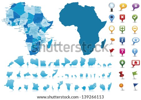 Africa-highly detailed map.All elements are separated in editable layers clearly labeled Vector